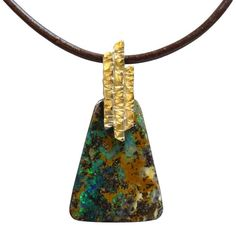Boulder opal and gold, pendant by Whitney Robinson Bouldering, Gold Pendant, Art Nouveau, Opal, Templates, Jewels, Patterns, Studio, Ideas