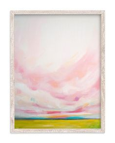 Landscape and pink sky painting