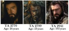Thorin's ages in the Hobbit. The first is when his grandfather discovered the rake stone and was driven mad. The second is the battle the win back Erebor. The third is while the are on the quest to reclaim their homeland.