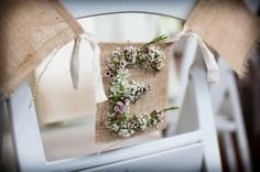 custom burlap and baby's breath initial chair decor, pretty pastel rustic wedding, Tracy Autem Photography