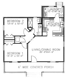 Home Plans HOMEPW07917 - 864 Square Feet, 2 Bedroom 1 Bathroom Country Home with