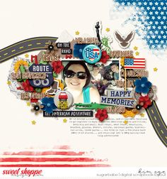 Digital scrapbook layout for road trip travel using Around the World: USA by Amanda Yi and WendyP Designs (found at Sweet Shoppe Designs)