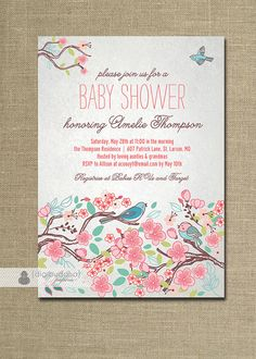Bloom Bird Baby Shower Invitation Garden Tree Floral Baby Girl Rose Flower Pink Gray Invite FREE PRIORITY SHIPPING or DiY Printable - Amelie