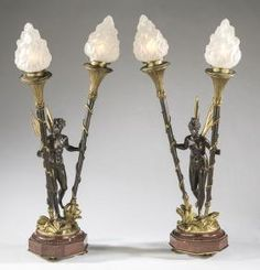 (2) Louis Kley signed Art Nouveau bronze fairy lamps