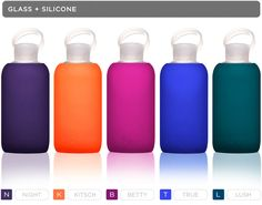 BKR glass water bottle color line. Doesn't leach chemicals in drinking water. #beaker #glass #silicone