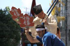 山の前に立つ「音頭取り」は、曳き手に合図を出す役目。 祇園祭 京都 kyoto gion festival