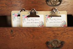 Vintage wedding... put some images of the bride & groom on clip boards.