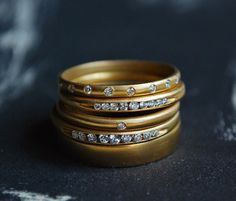 Gillian Conroy Jewelry; Yellow Gold & Diamond Rings at Metier San Francisco
