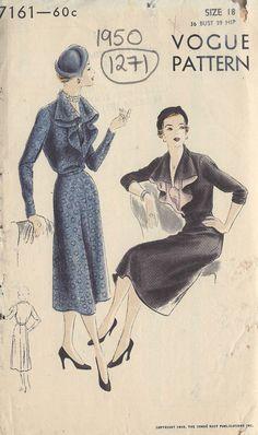 1950 Vintage VOGUE Sewing Pattern B36 DRESS 1271 Vogue