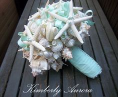 L'Ocean Bows Style Seashell Bouquet for Beach Wedding (Pencil Starfish), Made to Order, Custom Details.