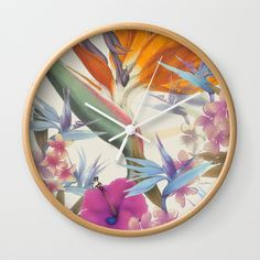Buy Fields of Paradise Wall Clock by vikkisalmela. Worldwide shipping available at Society6.com. New, #vintage #Hawaiian #tropical #floral featuring Bird of Paradise and #Hibiscus, hand painted and available on #home #decor, #tech #accessories, #fashion and those must have items. Coordinating products are available. Perfect #gift for the hard to shop for, original art on usable products!