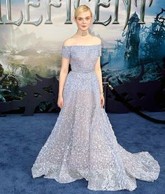 Elle Fanning channels Sleeping Beauty in a gown by Elie Saab Couture at the Maleficent premiere in L.A.