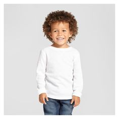 Toddler Boys' Long Sleeve Henley Shirt Cat & Jack - White 4T