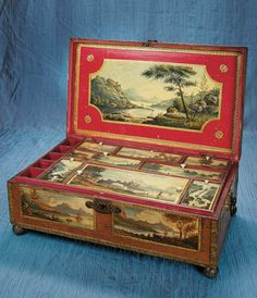 Viennese Wooden Sewing Box with 14 Oil Painted Scenes 12,000/15,000