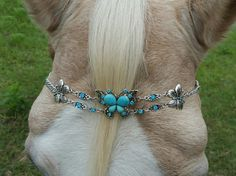 Turquoise Butterfly Browband for Horse Draft Pony by MyBuddyBling