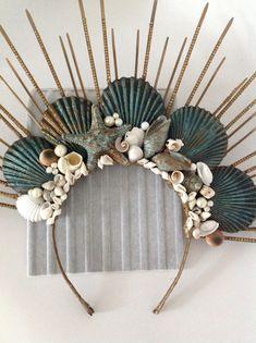 Mermaid Crafts, Mermaid Diy, Seashell Crafts, Mermaid Crowns Diy, Headpiece Jewelry, Floral Headpiece, Headpiece Wedding, Sea Crown, Shell Crowns