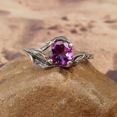 VIOLET  Sterling Silver Leaf Ring with Faceted by BlackWaterSiren, $38.00