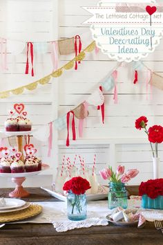 Cottage style banners with doilies and cloth ribbon...add pennants and tissue paper pom pons for ceiling decoration.