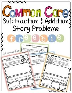 Addition and Subtraction Story Problems Freebie for guided math groups or independent practice. Shows multiple addition and subtraction strategies Second Grade Math, First Grade Math, Fun Math, Math Activities, Math Story Problems, Word Problems, Math Problem Solving, Math School, Worksheets