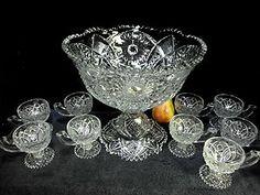 ANTIQUE EAPG JEFFERSON GLASS KRYS-TOL KENNETH PUNCH BOWL W/STAND 9 CUPS Punch Bowl Set, Antique Glass, Cut Glass, Tea Party, Bowls, Crystals, Antiques, Tea Time, Depression