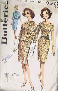 Butterick Pattern  Pattern Number 9970  Copyright: 1960s    Misses One Piece Dress and Jacket Pattern    Boxy Jacket pattern, semi-fitted in front with standing away from neck band collar.  Set-in below elbow sleeves.  Shallow necked Dress with very short shaped sleeves, gathered slim skirt, self cocarde trim.