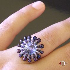 Swarovski a Myiuki drops - Ring  by Iva Jar. (Bijioux)