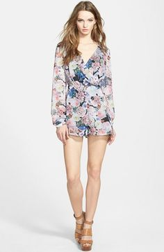 GLAMOROUS Surplice Long Sleeve Romper available at #Nordstrom