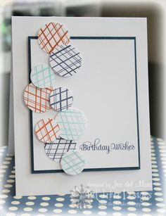 Simple but very slick. Masculine bday card.  I like the striped circles.  you could do that with a pen or marker.