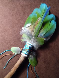 Items similar to Smudge Fan- Growing From Within- Sacred Smudge Fan with Chrysicolla - made to order on Etsy Feather Crafts, Feather Art, Feather Painting, Native American Art, American Indians, Magick, Witchcraft, Craft Font, Sage Smudging
