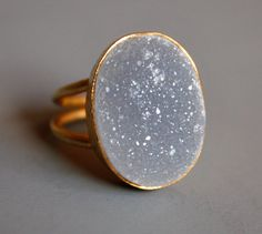 Natural Agate Druzy Ring  Soft Grey AAA Grade  by OhKuol on Etsy, $69.00
