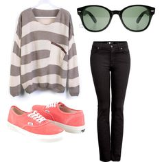 Baggy Sweater by elenianne on Polyvore featuring 7 For All Mankind, Vans and Ray-Ban