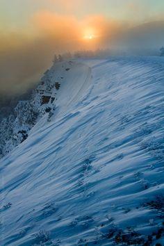 Winter sunset in Crimea mountains, Ukraine