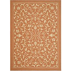 Indoor/ Outdoor Resorts Terracotta/ Natural Rug (5'3 x 7'7)