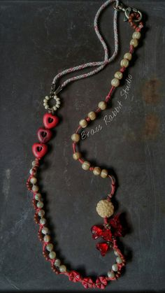 Brass Rabbit Studio on Etsy listing at https://www.etsy.com/listing/210356291/earthy-rustic-bohemian-necklace-red
