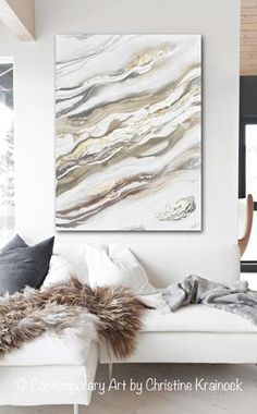 """Natural Beauty"" Original Art Abstract Painting in neutral shades of white, grey,  beige, taupe with reflective gold leaf accents. Contemporary, large, wall art, coastal home decor with a contemporary liquid, marbled effect giving this fine art piece a modern, natural, organic feel. Hand-painted, original painting with a calm, serene coastal feel of stone and sea. This piece contains accents of metallic gold leaf which draws the viewer in, and reflects light, creating a stunning effect…"