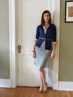 grey skirt, navy cardigan