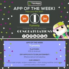 Congratulations, @yummly, for being nominated #APP OF THE WEEK by #iSpyApps! Download it and find more yums to fit your tastebuds! #AOTW