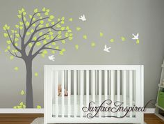 Blowing summer tree wall decal with flying birds.  Contact us if you want to get a free custom preview of how this wall decal will look like on