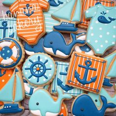 TO DIE FOR for a nautical themed baby shower Whale Cookies, Baby Cookies, Baby Shower Cookies, Cute Cookies, Sugar Cookies, Sailboat Cookies, Heart Cookies, Valentine Cookies, Easter Cookies