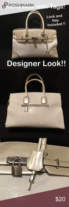 """Embossed Faux Alligator Tote / Handbag Gorgeous & brand new with tag! Two tone nude Designer looking tote / bag made of embossed faux alligator leather with silver tone hardware, padlock and key are included! This is NOT a real HERMES. No logos are anywhere on this handbag. ~ Zip top closure ~ Handles; 5.5"""" drop ~ Detachable shoulder strap included; adjustable ~ Zipped pocket on backside exterior ~ Interior includes: open pockets and zipped pockets. Same day & next day shipping…"""
