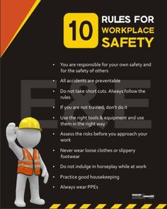 10 rules for workplace safety Safety Talk, Safety Meeting, Fire Safety, Safety Quotes, Safety Slogans, Health And Safety Poster, Safety Posters, Drive Safe Quotes, Safety Pictures
