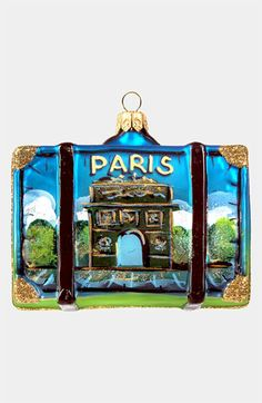 Nordstrom at Home 'Paris' Glass Suitcase Ornament available at #Nordstrom