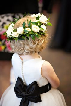 Flower girl in black & white with floral wreath headpiece - Love You More