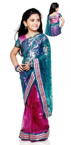 Teal and Magenta Net Kids Saree With Blouse Online Shopping: UMS20