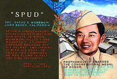 """Postcard depicting Medal of Honor recipient Sadao """"Spud"""" Munemori and the Manzanar War Relocation Center in California where his family was forcibly relocated during the war by Ben Sakoguchi"""