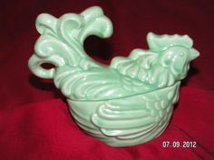 VINTAGE 1942 REDWING TURQUOISE ROOSTER SINGLE CASSAROLE COOKWARE FROM WORLD WARII