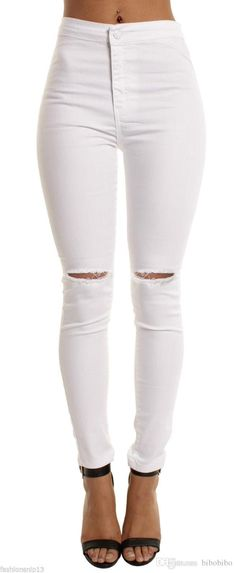 2017 Fsahion Sexy Womens High Waist Skinny Ripped Jeans For Women Casual Slim Fit Cool Hole Denim Jeans Stretchy Denim Pencil Pants From Bibobibo, $9.45 | Dhgate.Com