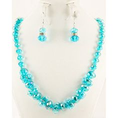 @Overstock - Aquamarine Crystal Cluster Jewelry Set - Let this flexible jewelry set decorate your style for a dressy night out on the town, a day at the office or for a normal day out and about. The necklace and earrings offer faceted crystals in an aquamarine color.    http://www.overstock.com/Main-Street-Revolution/Aquamarine-Crystal-Cluster-Jewelry-Set/5187014/product.html?CID=214117  $18.49