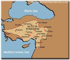 Map of the Bronze Age Hittite Kingdom north of Lebanon in present day Turkey or Anatolia