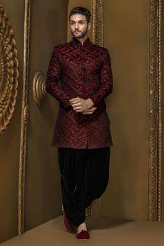 Coal #black & #maroon brocade suave #jodhpuri #sherwani with dhoti #pants & mandarin collar -IW349